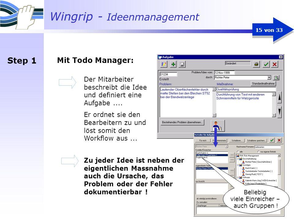 Wingrip - Ideenmanagement 15 von 33 Mit Todo Manager: Der Mitarbeiter beschreibt die Idee und definiert eine Aufgabe.... Er ordnet sie den Bearbeitern