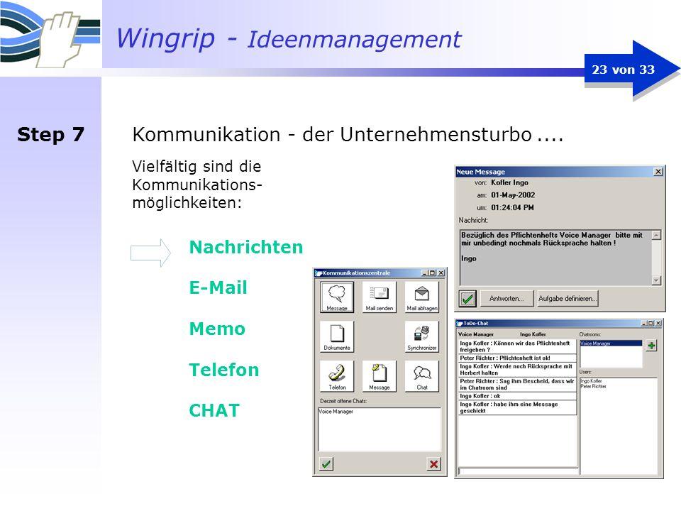 Wingrip - Ideenmanagement 23 von 33 Kommunikation - der Unternehmensturbo.... Vielfältig sind die Kommunikations- möglichkeiten: Nachrichten E-Mail Me