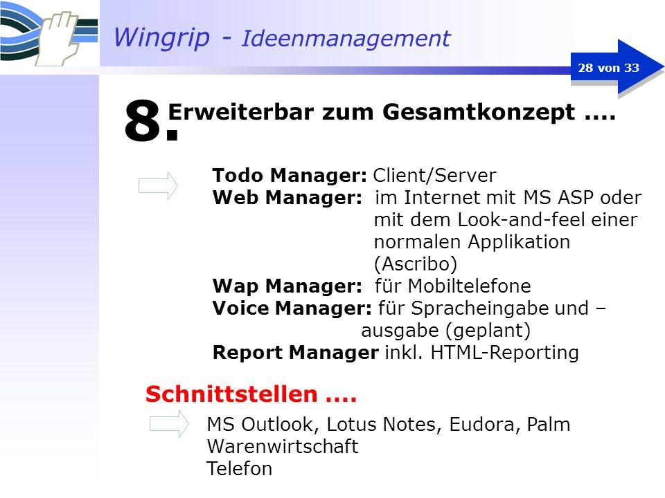 Wingrip - Ideenmanagement 28 von 33 Todo Manager: Client/Server Web Manager: im Internet mit MS ASP oder mit dem Look-and-feel einer normalen Applikat
