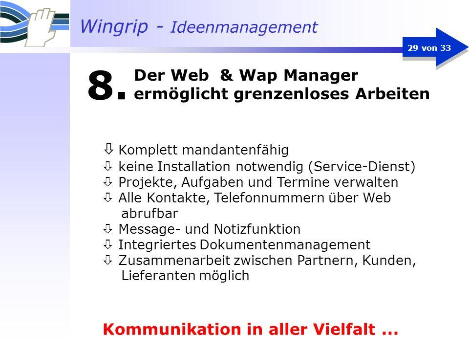 Wingrip - Ideenmanagement 29 von 33 Komplett mandantenfähig ò keine Installation notwendig (Service-Dienst) ò Projekte, Aufgaben und Termine verwalten