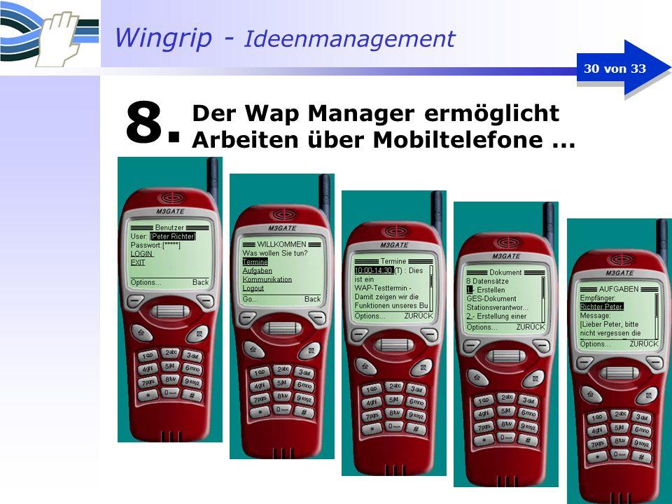 Wingrip - Ideenmanagement 30 von 33 8. Der Wap Manager ermöglicht Arbeiten über Mobiltelefone...
