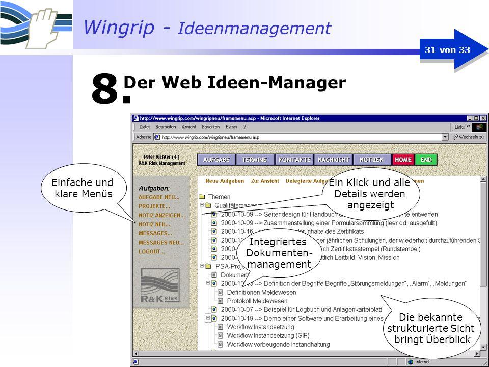 Wingrip - Ideenmanagement 31 von 33 Integriertes Dokumenten- management Ein Klick und alle Details werden angezeigt Einfache und klare Menüs Die bekan