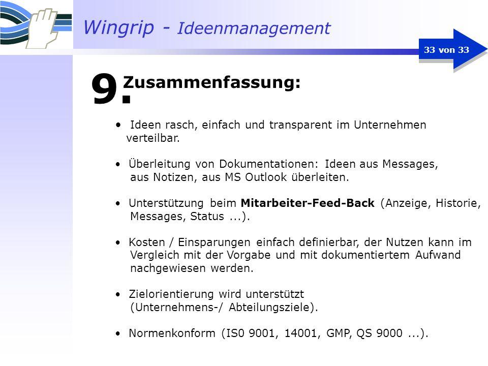 Wingrip - Ideenmanagement 33 von 33 Ideen rasch, einfach und transparent im Unternehmen verteilbar. Überleitung von Dokumentationen: Ideen aus Message