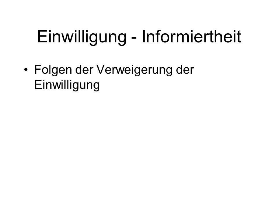 Einwilligung - Informiertheit Folgen der Verweigerung der Einwilligung