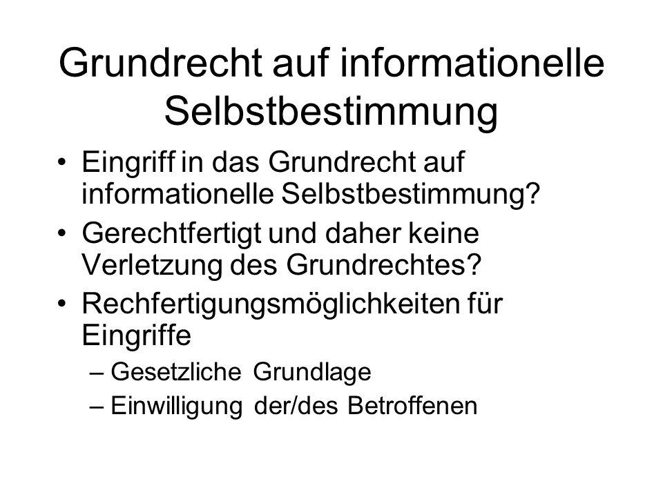Grundrecht auf informationelle Selbstbestimmung Eingriff in das Grundrecht auf informationelle Selbstbestimmung? Gerechtfertigt und daher keine Verlet