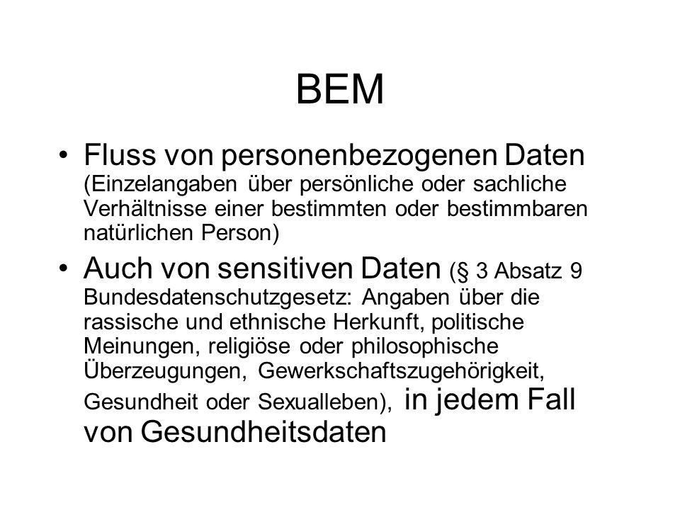 BEM Fluss von personenbezogenen Daten (Einzelangaben über persönliche oder sachliche Verhältnisse einer bestimmten oder bestimmbaren natürlichen Perso