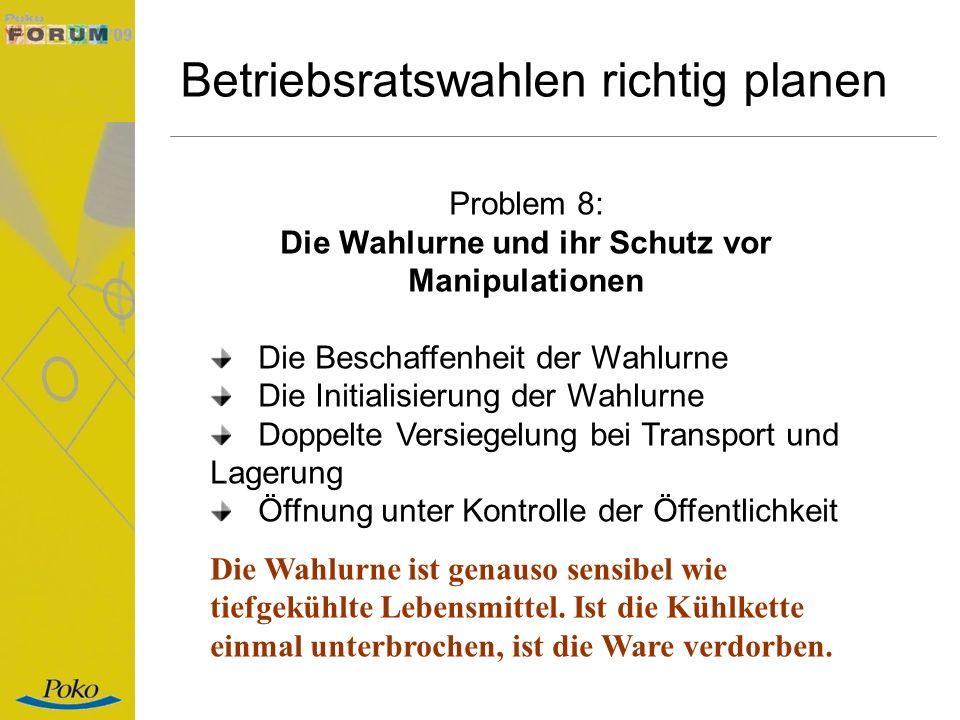 Betriebsratswahlen richtig planen Problem 8: Die Wahlurne und ihr Schutz vor Manipulationen Die Beschaffenheit der Wahlurne Die Initialisierung der Wa