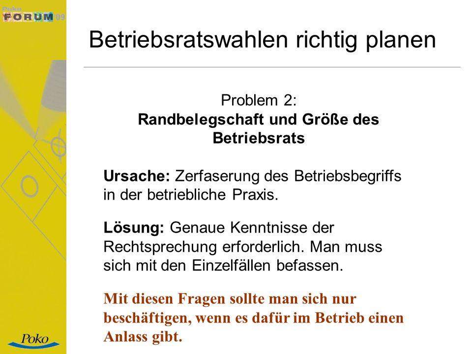 Betriebsratswahlen richtig planen Problem 2: Randbelegschaft und Größe des Betriebsrats Ursache: Zerfaserung des Betriebsbegriffs in der betriebliche