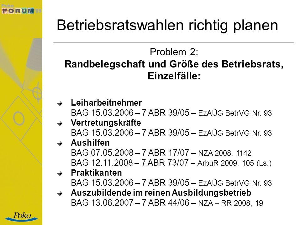Betriebsratswahlen richtig planen Problem 2: Randbelegschaft und Größe des Betriebsrats, Einzelfälle: Leiharbeitnehmer BAG 15.03.2006 – 7 ABR 39/05 –