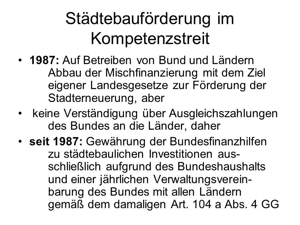 Städtebauförderung im Kompetenzstreit 1987: Auf Betreiben von Bund und Ländern Abbau der Mischfinanzierung mit dem Ziel eigener Landesgesetze zur Förd
