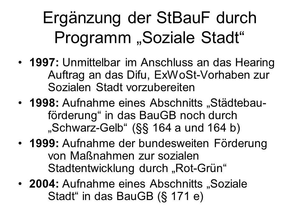 Ergänzung der StBauF durch Programm Soziale Stadt 1997: Unmittelbar im Anschluss an das Hearing Auftrag an das Difu, ExWoSt-Vorhaben zur Sozialen Stad
