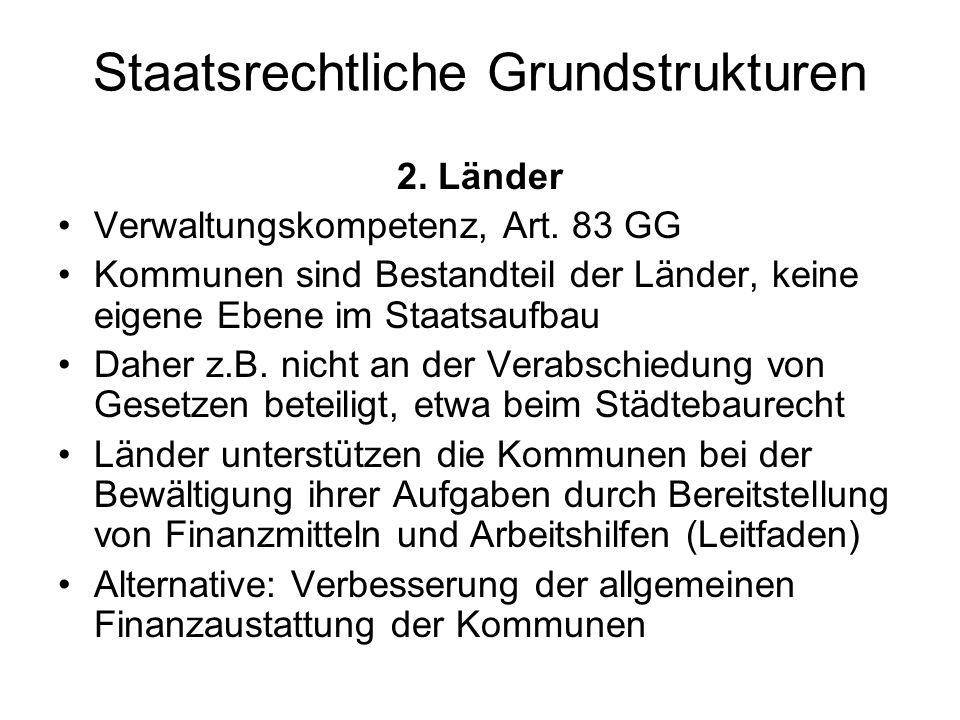 Staatsrechtliche Grundstrukturen 2. Länder Verwaltungskompetenz, Art. 83 GG Kommunen sind Bestandteil der Länder, keine eigene Ebene im Staatsaufbau D