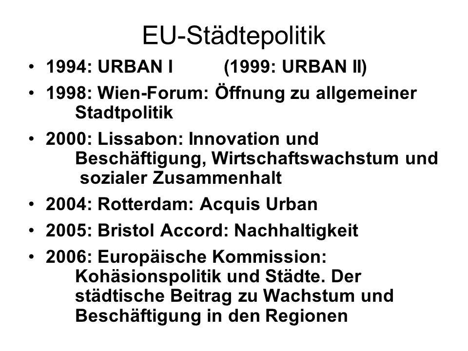 EU-Städtepolitik 1994: URBAN I (1999: URBAN II) 1998: Wien-Forum: Öffnung zu allgemeiner Stadtpolitik 2000: Lissabon: Innovation und Beschäftigung, Wi