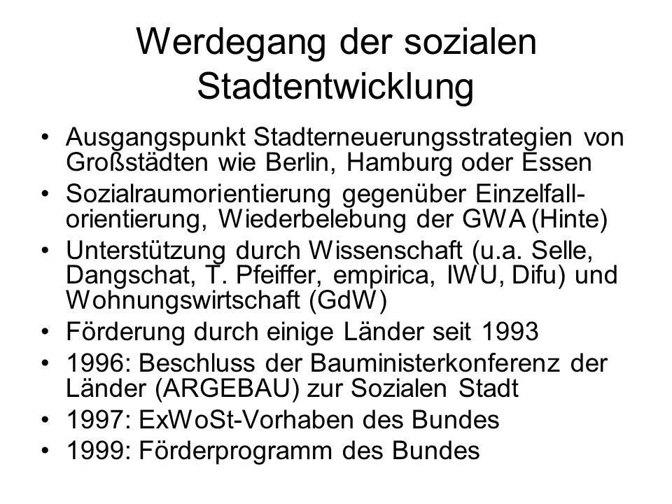 Werdegang der sozialen Stadtentwicklung Ausgangspunkt Stadterneuerungsstrategien von Großstädten wie Berlin, Hamburg oder Essen Sozialraumorientierung