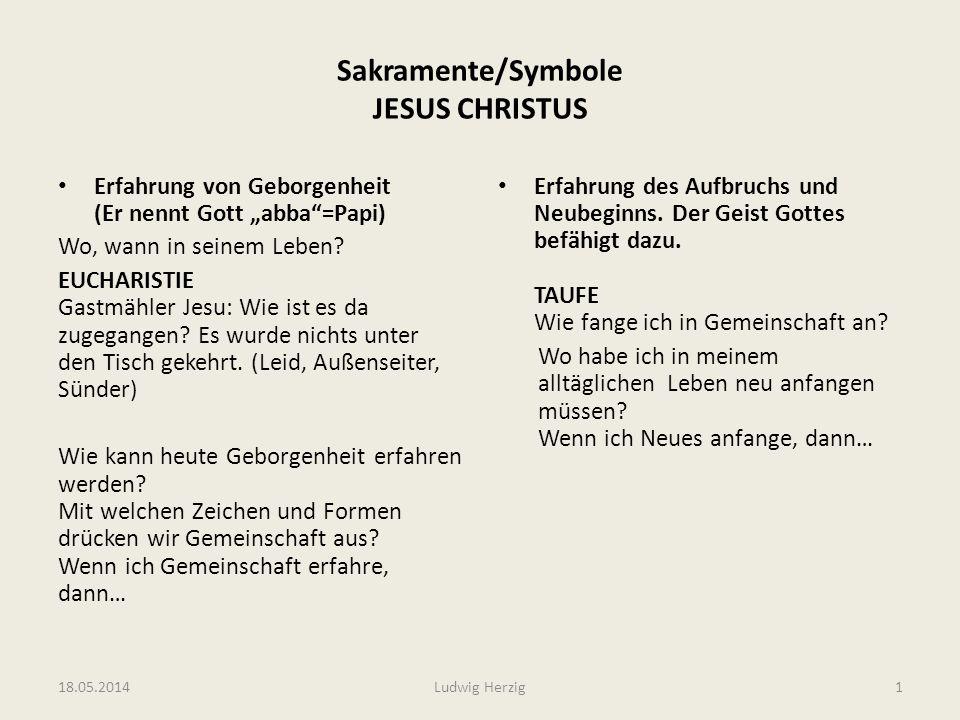 Sakramente/Symbole JESUS CHRISTUS Erfahrung von Geborgenheit (Er nennt Gott abba=Papi) Wo, wann in seinem Leben? EUCHARISTIE Gastmähler Jesu: Wie ist