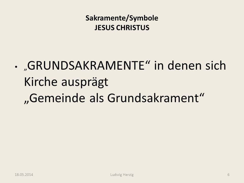 Sakramente/Symbole JESUS CHRISTUS GRUNDSAKRAMENTE in denen sich Kirche ausprägt Gemeinde als Grundsakrament 18.05.2014Ludwig Herzig6