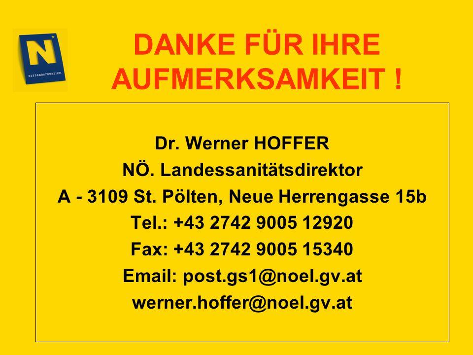 DANKE FÜR IHRE AUFMERKSAMKEIT ! Dr. Werner HOFFER NÖ. Landessanitätsdirektor A - 3109 St. Pölten, Neue Herrengasse 15b Tel.: +43 2742 9005 12920 Fax:
