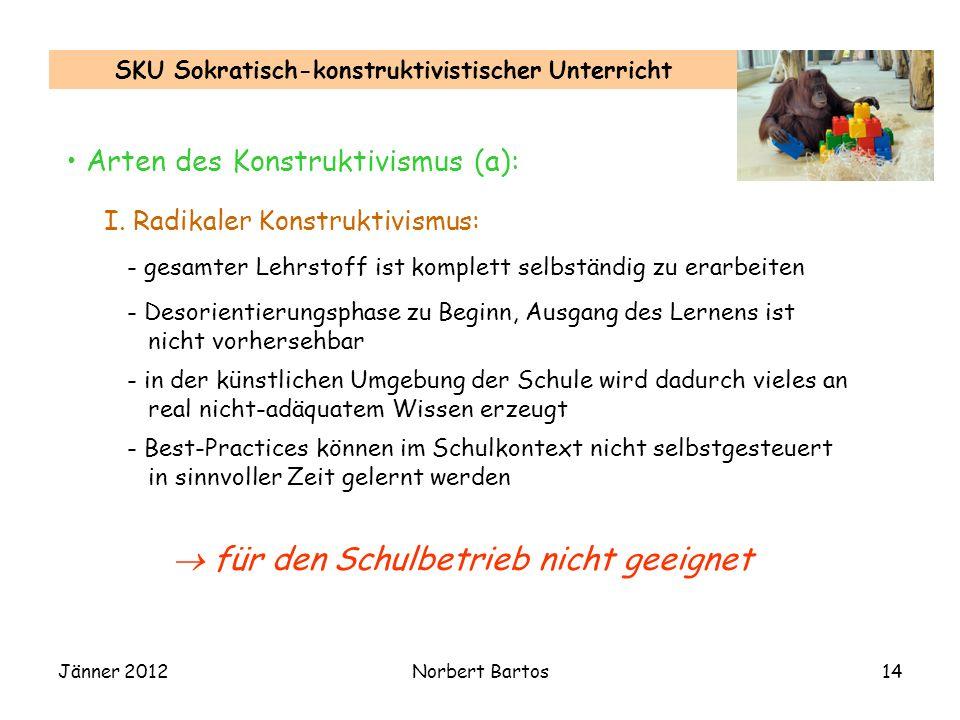 Jänner 2012Norbert Bartos14 SKU Sokratisch-konstruktivistischer Unterricht Arten des Konstruktivismus (a): I.