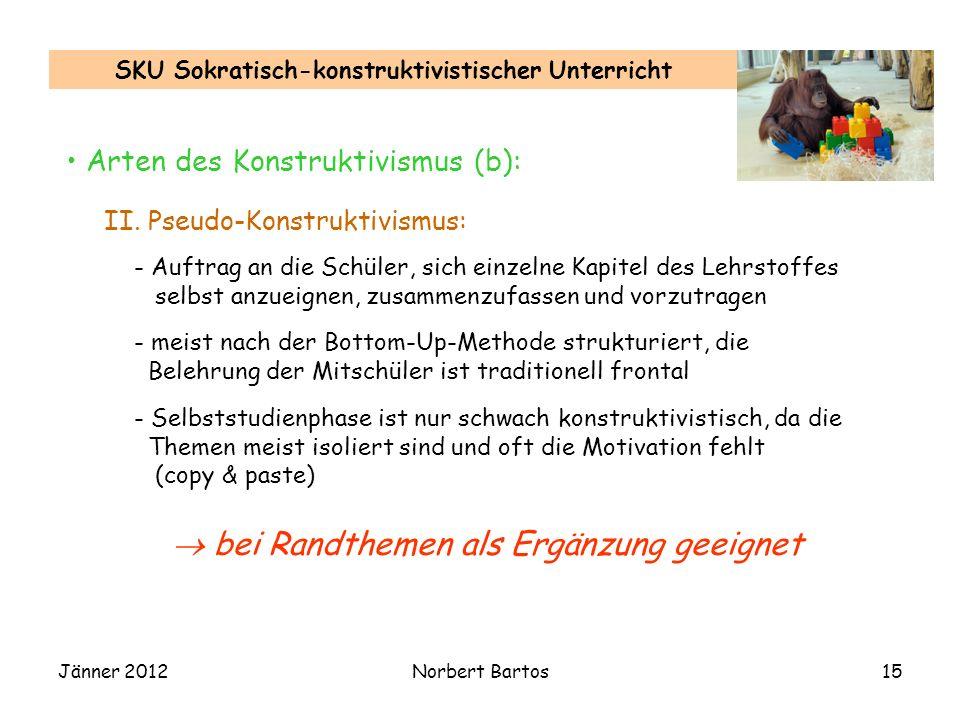 Jänner 2012Norbert Bartos15 SKU Sokratisch-konstruktivistischer Unterricht Arten des Konstruktivismus (b): II. Pseudo-Konstruktivismus: - Auftrag an d
