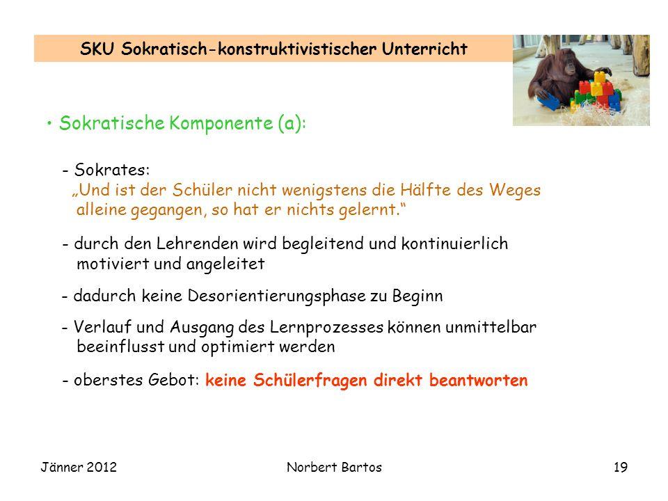Jänner 2012Norbert Bartos19 SKU Sokratisch-konstruktivistischer Unterricht Sokratische Komponente (a): - Sokrates: Und ist der Schüler nicht wenigstens die Hälfte des Weges alleine gegangen, so hat er nichts gelernt.