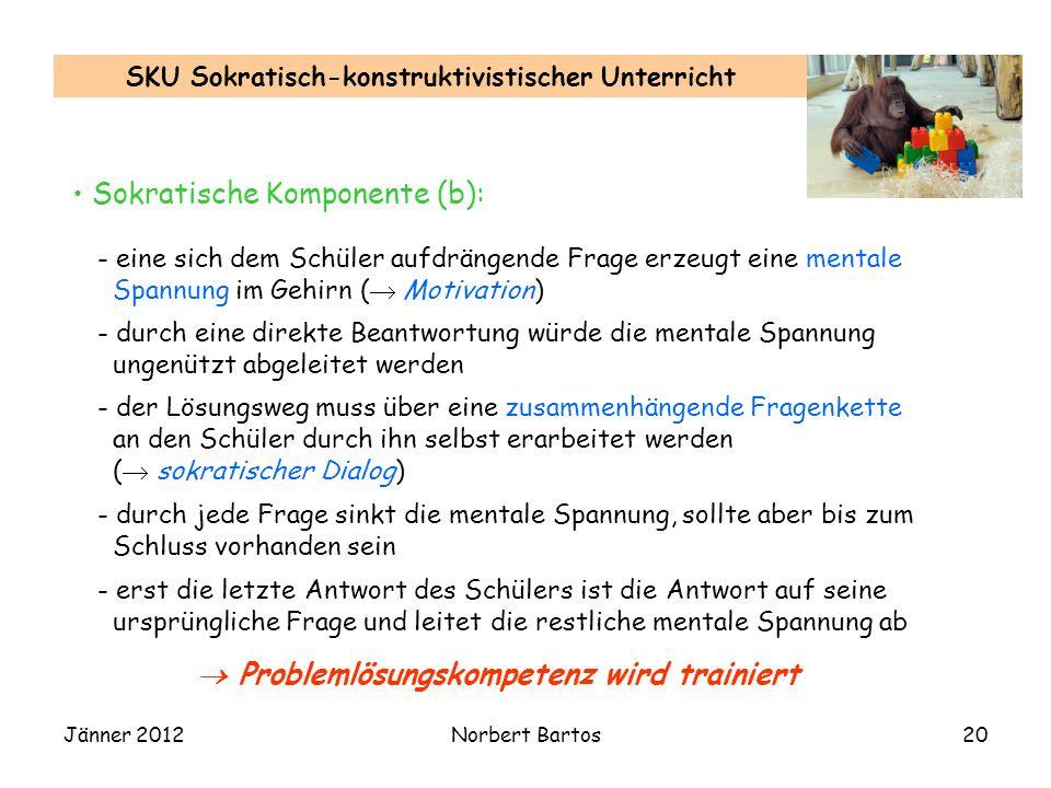 Jänner 2012Norbert Bartos20 SKU Sokratisch-konstruktivistischer Unterricht Sokratische Komponente (b): - eine sich dem Schüler aufdrängende Frage erze