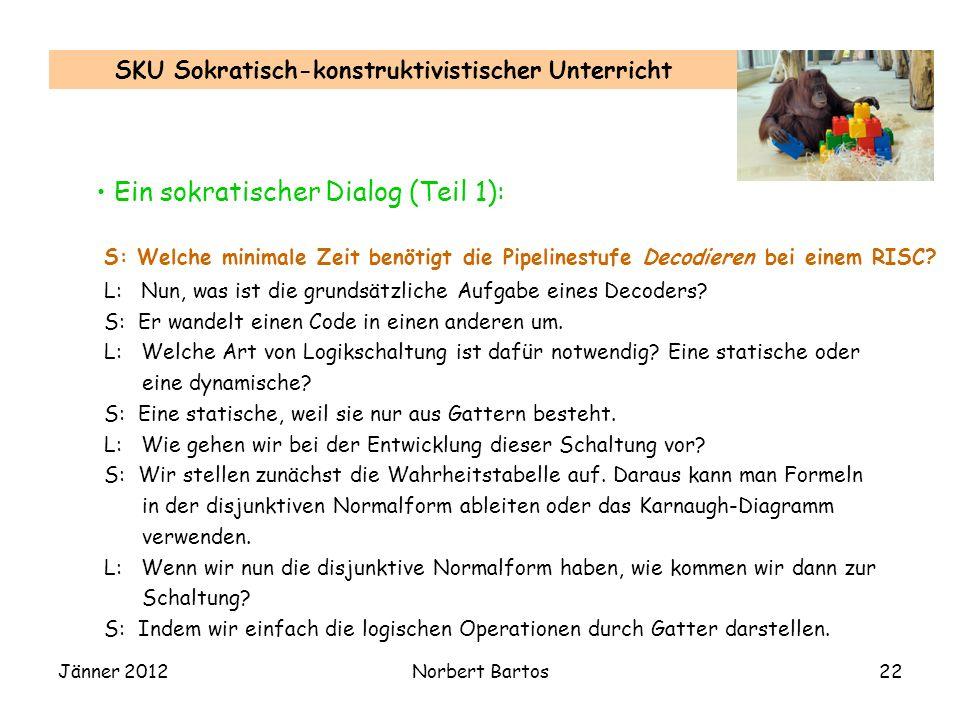 Jänner 2012Norbert Bartos22 SKU Sokratisch-konstruktivistischer Unterricht Ein sokratischer Dialog (Teil 1): L: Nun, was ist die grundsätzliche Aufgab