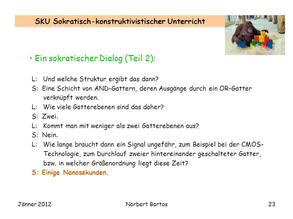 Jänner 2012Norbert Bartos23 SKU Sokratisch-konstruktivistischer Unterricht L: Und welche Struktur ergibt das dann? S: Eine Schicht von AND-Gattern, de