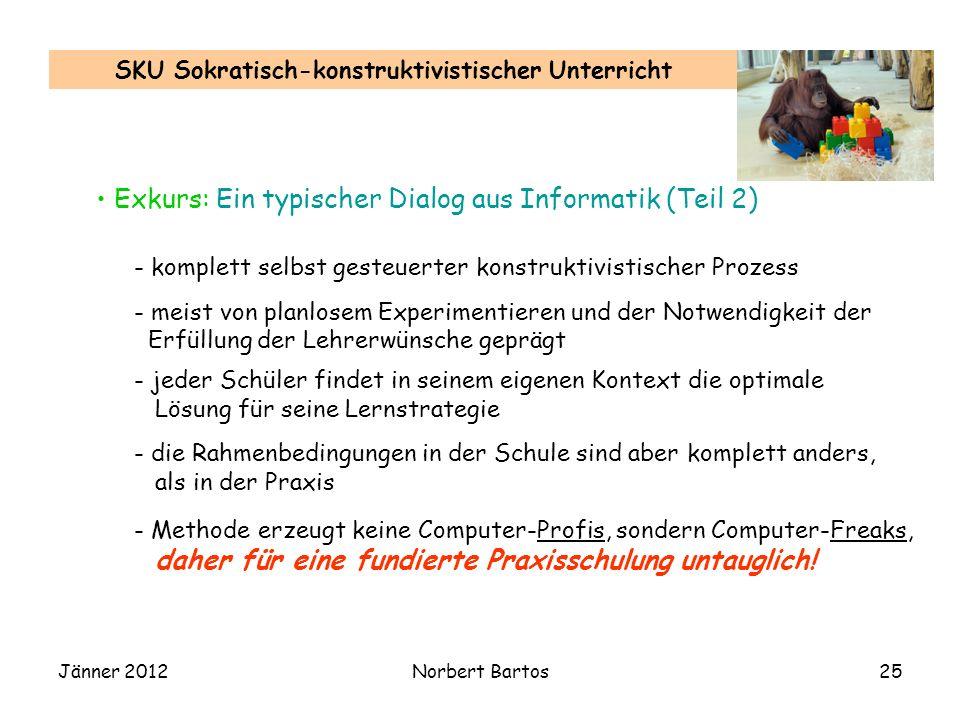 Jänner 2012Norbert Bartos25 SKU Sokratisch-konstruktivistischer Unterricht Exkurs: Ein typischer Dialog aus Informatik (Teil 2) - komplett selbst gest