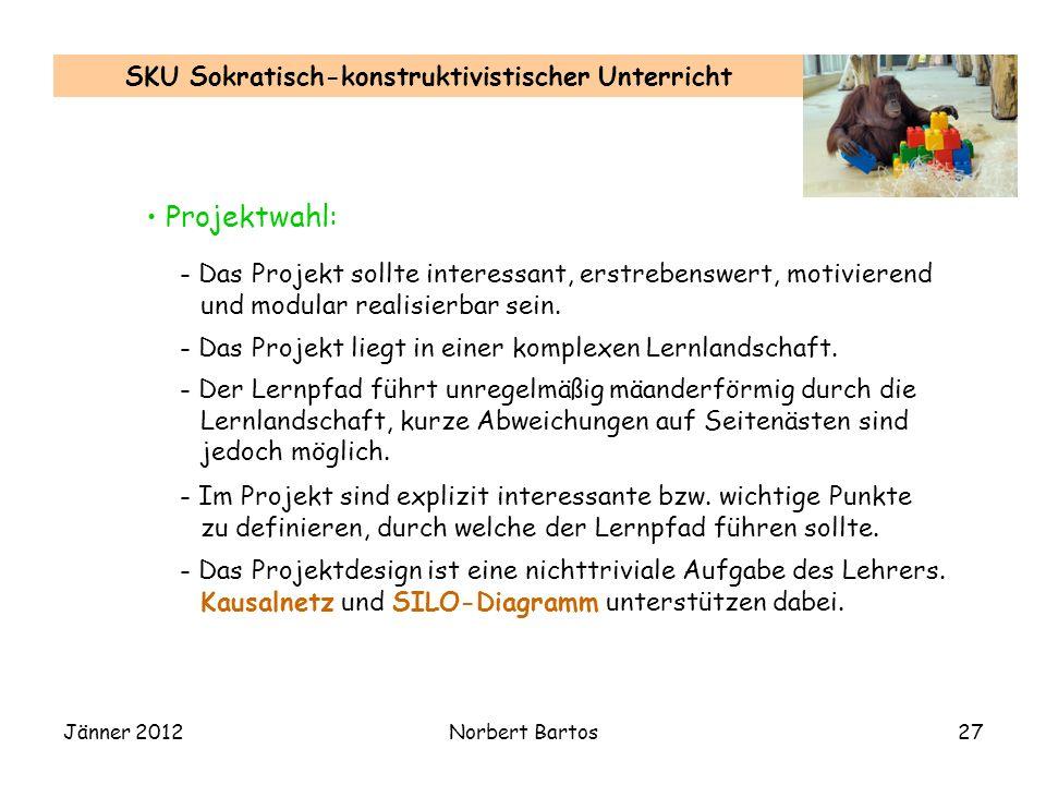 Jänner 2012Norbert Bartos27 SKU Sokratisch-konstruktivistischer Unterricht - Das Projekt sollte interessant, erstrebenswert, motivierend und modular realisierbar sein.