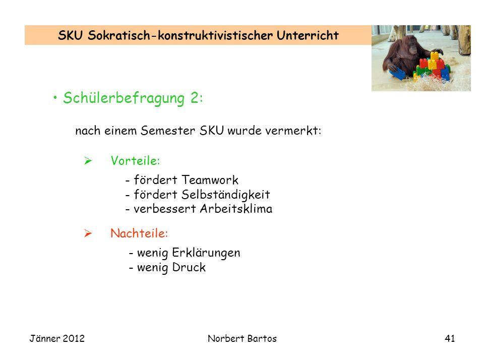 Jänner 2012Norbert Bartos41 SKU Sokratisch-konstruktivistischer Unterricht nach einem Semester SKU wurde vermerkt: Vorteile: Nachteile: - fördert Team