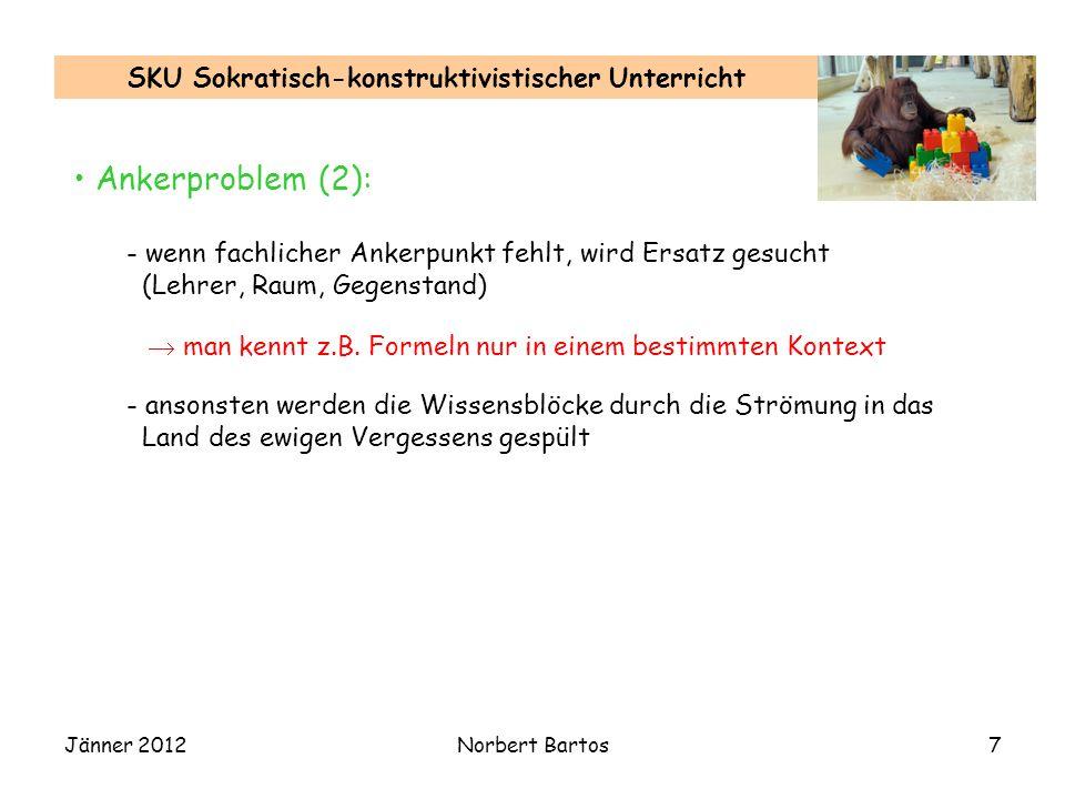 Jänner 2012Norbert Bartos7 SKU Sokratisch-konstruktivistischer Unterricht Ankerproblem (2): - wenn fachlicher Ankerpunkt fehlt, wird Ersatz gesucht (Lehrer, Raum, Gegenstand) man kennt z.B.