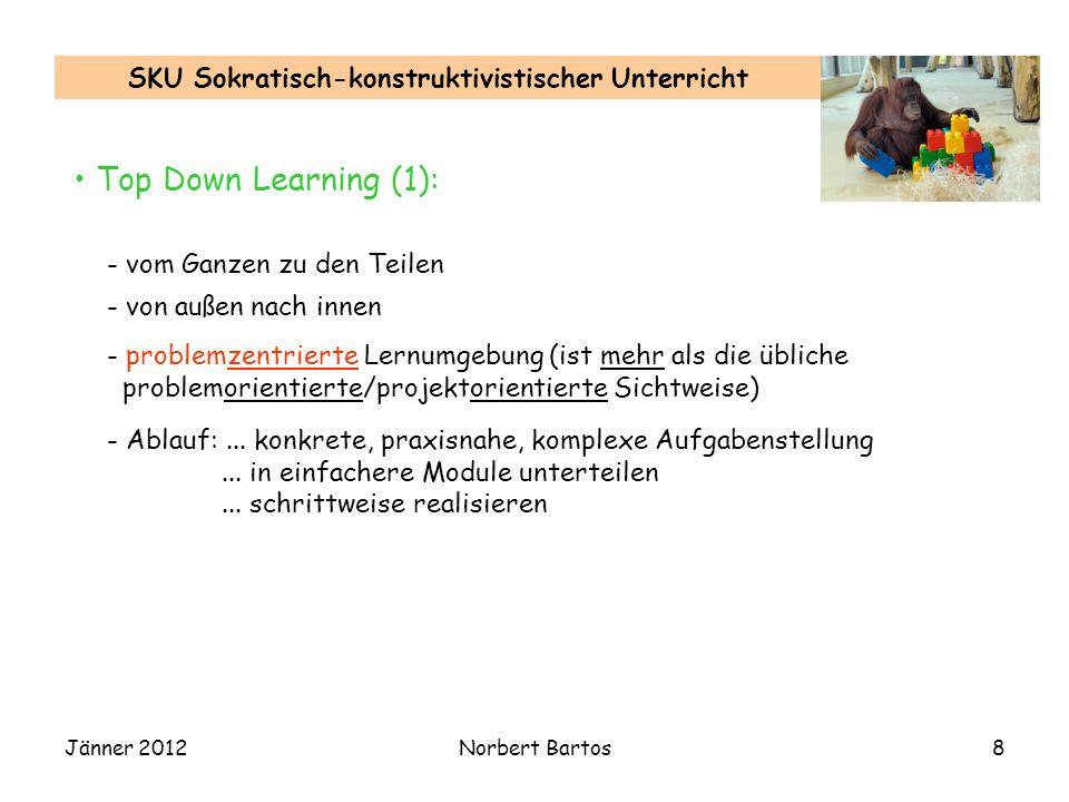 Jänner 2012Norbert Bartos8 SKU Sokratisch-konstruktivistischer Unterricht Top Down Learning (1): - vom Ganzen zu den Teilen - von außen nach innen - problemzentrierte Lernumgebung (ist mehr als die übliche problemorientierte/projektorientierte Sichtweise) - Ablauf:...