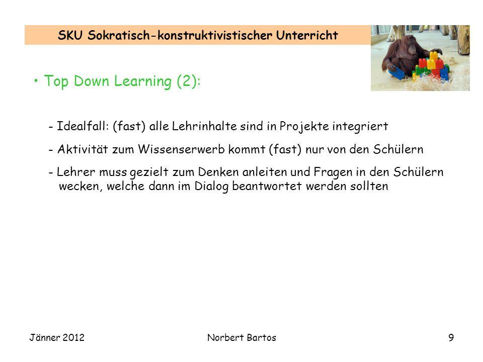 Jänner 2012Norbert Bartos9 SKU Sokratisch-konstruktivistischer Unterricht Top Down Learning (2): - Idealfall: (fast) alle Lehrinhalte sind in Projekte