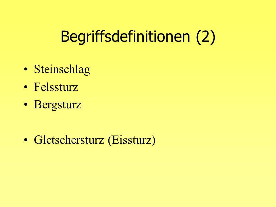 Begriffsdefinitionen (3) Differenzierung innerhalb der Sturprozesse –Prozessablauf (Initialphase, Fahrbahn,...), Dimension Dimensionen der einzelnen Prozesse –Steinschlag: Einzelblöcke mit max.