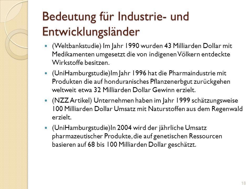 Bedeutung für Industrie- und Entwicklungsländer (Weltbankstudie) Im Jahr 1990 wurden 43 Milliarden Dollar mit Medikamenten umgesetzt die von indigenen