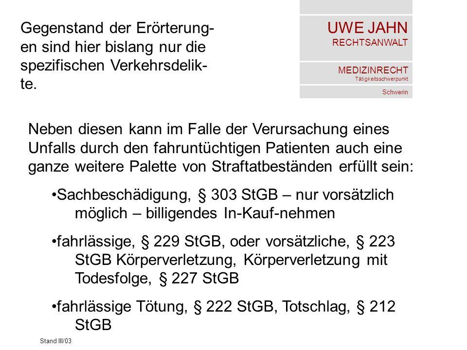 UWE JAHN RECHTSANWALT MEDIZINRECHT Tätigkeitsschwerpunkt Schwerin Stand III/03 Gegenstand der Erörterung- en sind hier bislang nur die spezifischen Ve