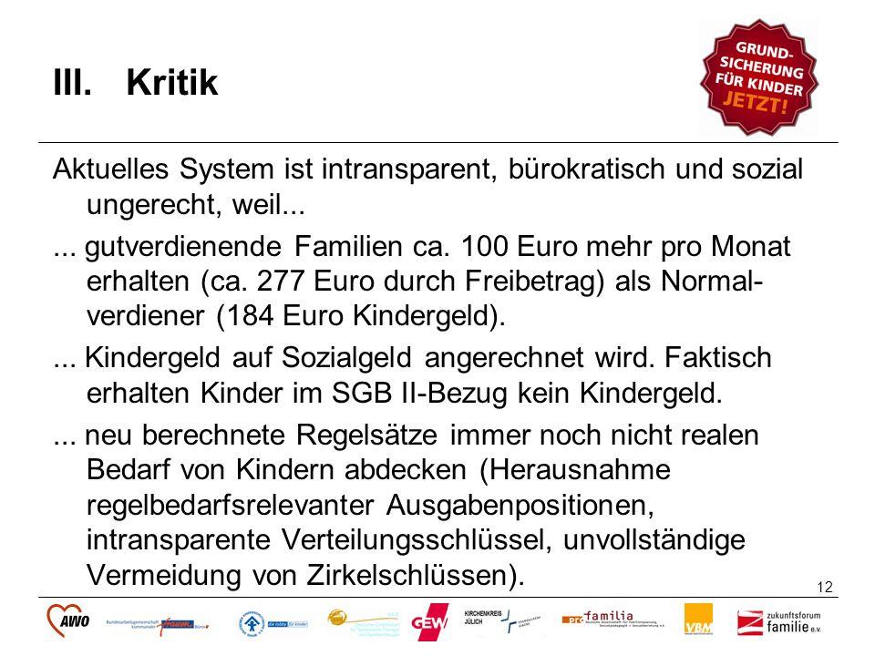 12 III.Kritik Aktuelles System ist intransparent, bürokratisch und sozial ungerecht, weil...... gutverdienende Familien ca. 100 Euro mehr pro Monat er