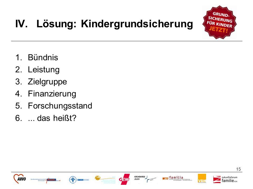 15 IV.Lösung: Kindergrundsicherung 1.Bündnis 2.Leistung 3.Zielgruppe 4.Finanzierung 5.Forschungsstand 6.... das heißt?