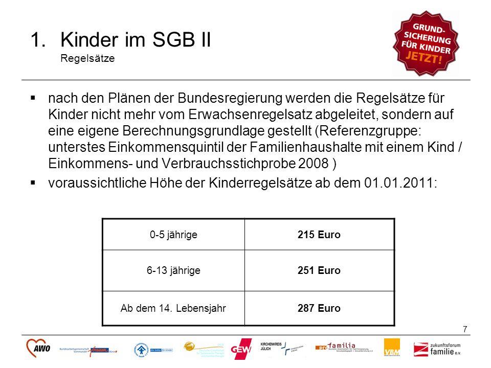 8 1.Kinder im SGB II Bildungspaket Der vom Bundesverfassungsgericht geforderte Bildungsbedarf von Kindern und Jugendlichen soll ab dem 01.01.2011 über das Bildungspaket abgedeckt werden.