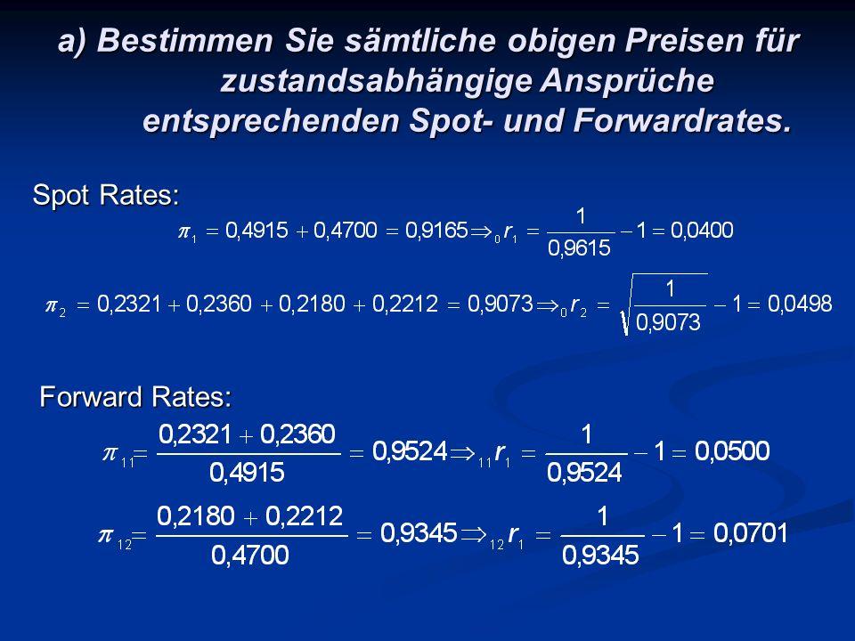a) Bestimmen Sie sämtliche obigen Preisen für zustandsabhängige Ansprüche entsprechenden Spot- und Forwardrates.