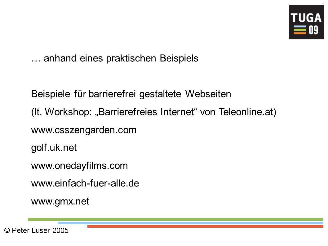 … anhand eines praktischen Beispiels Beispiele für barrierefrei gestaltete Webseiten (lt.