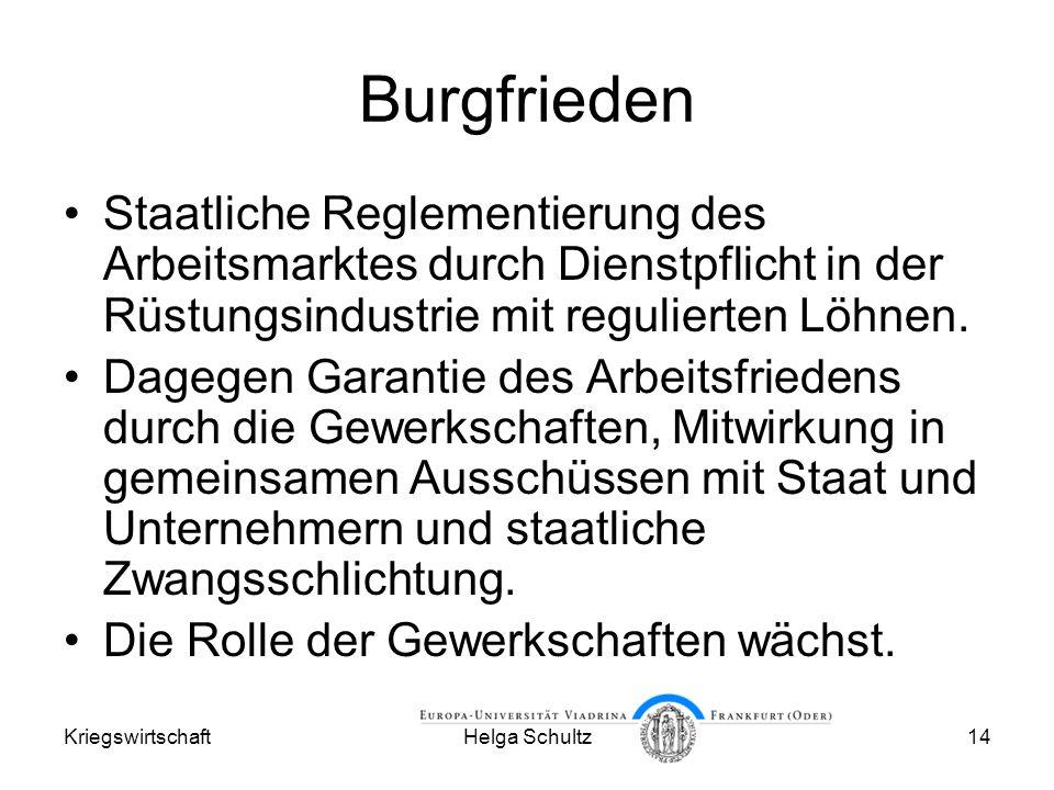 KriegswirtschaftHelga Schultz14 Burgfrieden Staatliche Reglementierung des Arbeitsmarktes durch Dienstpflicht in der Rüstungsindustrie mit regulierten Löhnen.