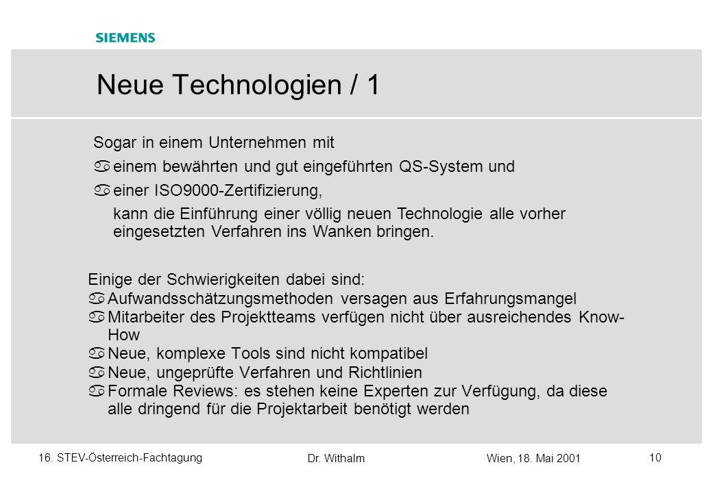 Dr. WithalmWien, 18. Mai 2001 916. STEV-Österreich-Fachtagung Neue Geschäftsstrategien mit Schwerpunkt auf QS - Überblick Siemens/PSE-Umfeld euroSTART
