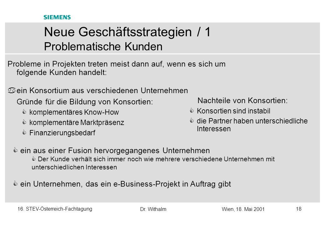 Dr. WithalmWien, 18. Mai 2001 1716. STEV-Österreich-Fachtagung Neue Geschäftsstrategien mit Schwerpunkt auf QS - Überblick Siemens/PSE-Umfeld euroSTAR