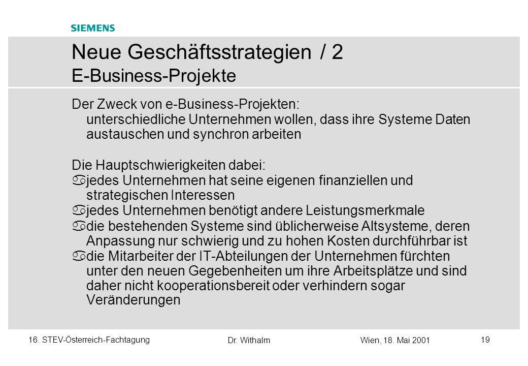 Dr. WithalmWien, 18. Mai 2001 1816. STEV-Österreich-Fachtagung Probleme in Projekten treten meist dann auf, wenn es sich um folgende Kunden handelt: e