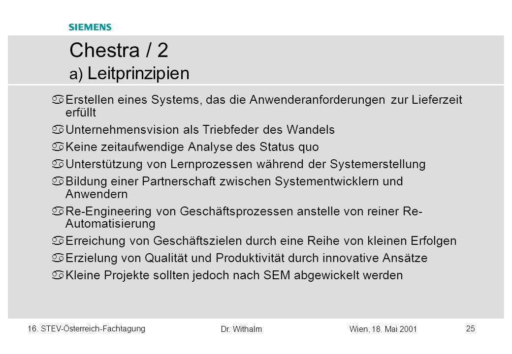 Dr. WithalmWien, 18. Mai 2001 2416. STEV-Österreich-Fachtagung Chestra / 1 Allgemeines Chestra war ursprünglich vorgesehen als Methode zur Initiierung
