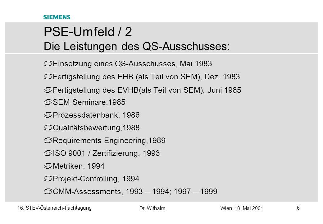 Dr. WithalmWien, 18. Mai 2001 516. STEV-Österreich-Fachtagung PSE-Umfeld/ 1 Ca. 4,500 Mitarbeiter (inklusive Tochterunternehmen) Mehr als 30 Jahre pra