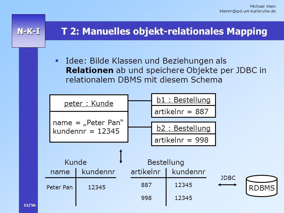 Michael Klein kleinm@ipd.uni-karlsruhe.de 11/56 N-K-I T 2: Manuelles objekt-relationales Mapping Idee: Bilde Klassen und Beziehungen als Relationen ab