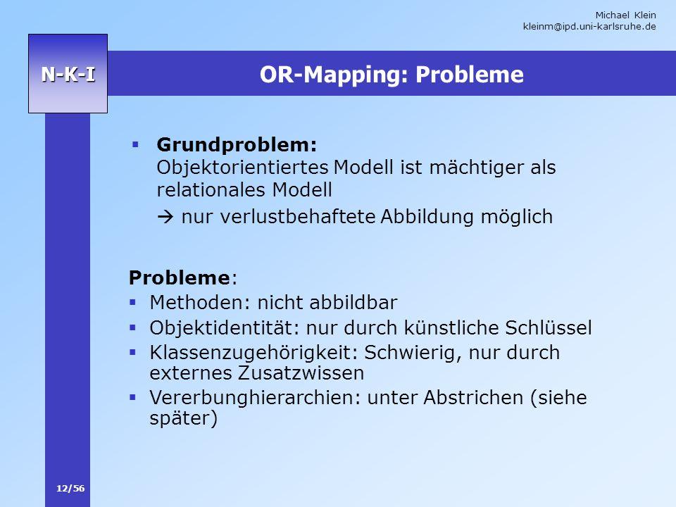 Michael Klein kleinm@ipd.uni-karlsruhe.de 12/56 N-K-I OR-Mapping: Probleme Grundproblem: Objektorientiertes Modell ist mächtiger als relationales Mode