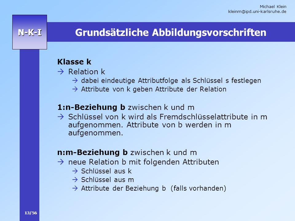 Michael Klein kleinm@ipd.uni-karlsruhe.de 13/56 N-K-I Grundsätzliche Abbildungsvorschriften Klasse k Relation k dabei eindeutige Attributfolge als Sch